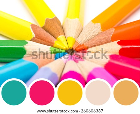 Color Palette Of Coloring Crayons Abstract