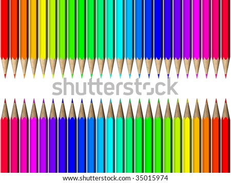 Color palette of crayons on a white background