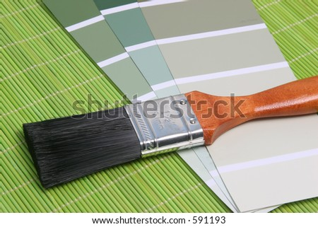 Color palette over a placemat - stock photo