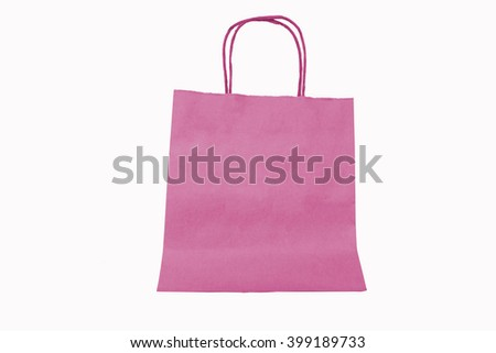 Color paper bag isolated on white background