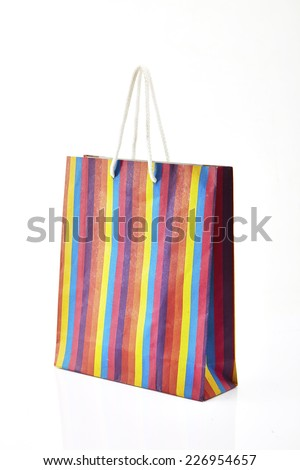 color paper bag with a pattern on a white background.