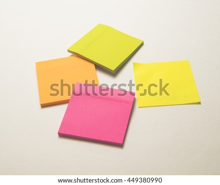 Color paper for notes/Stick Paper/Office stationery for memos and reminders - stock photo