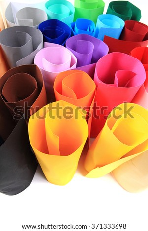 color paper rolls isolated on the white background