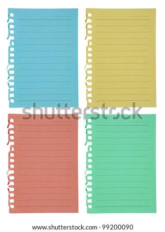 color paper sheet collection  on white background