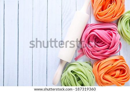 color pasta - stock photo