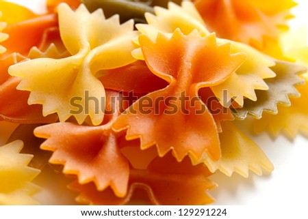 color pasta isolated on white background - stock photo