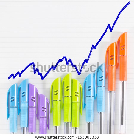 color pen business graph on paper - stock photo
