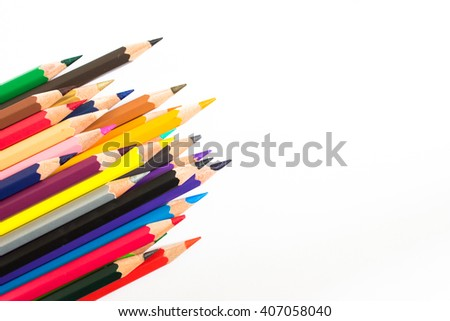 Color pencil and pencil on white background - stock photo