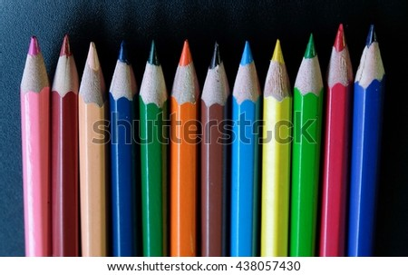 Color pencil, Art tools for children. - stock photo
