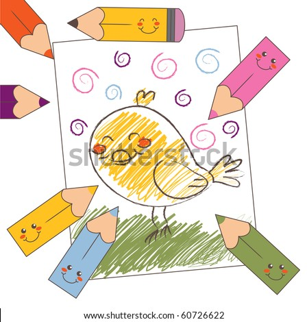 Color pencil drawing of a bird kid's style. Raster version of vector illustration ID: 58896374 - stock photo