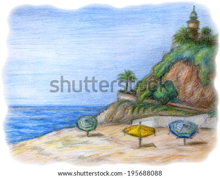 Color pencil illustration of beach with lighthouse on the rock, sunshade, palm trees and green growth - stock photo