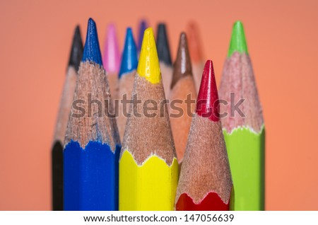 Color pencil in great color background