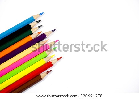 color pencil isolated on white background