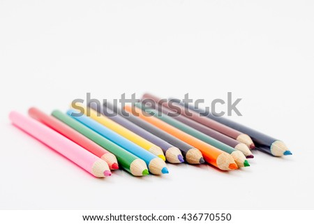 Color pencil isolated on white background. Education concept.