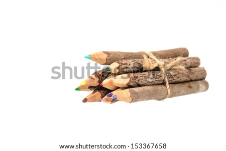color pencil made of branches isolate on white - stock photo