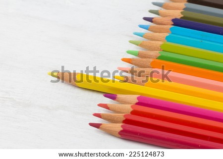 Color pencil on grunge white wood background