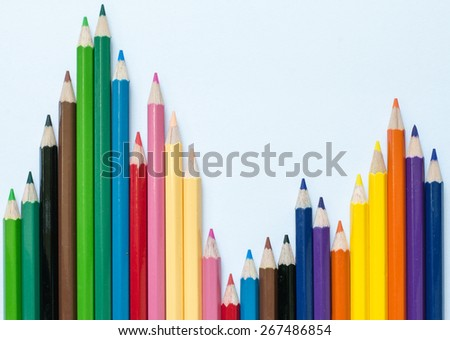 color pencil stock chart concept with white background - stock photo