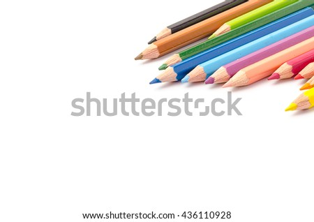 Color pencil with copy space isolated on whtie background,education frame concept.