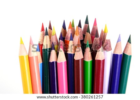 Color pencils against white background