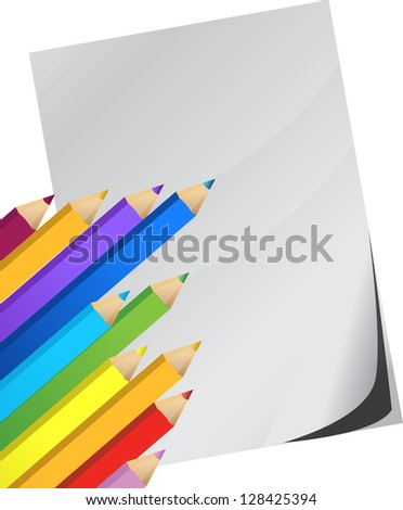 Color pencils and white paper illustration design over white - stock photo