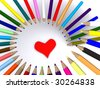 color pencils around heart. 3D - stock photo