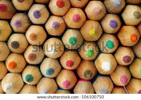 Color pencils background macro - stock photo
