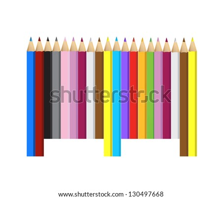 color pencils barcode upc code illustration design over white - stock photo