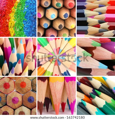 Color pencils collage - stock photo