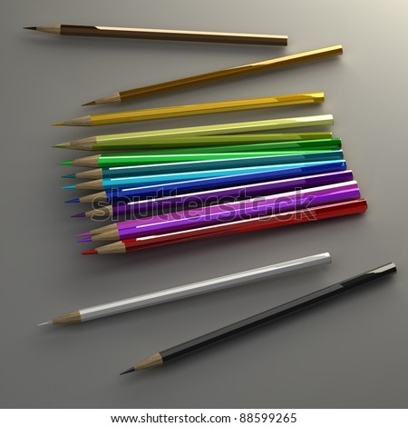 color pencils High resolution 3D image