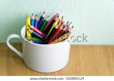 Color pencils in a cup  - stock photo