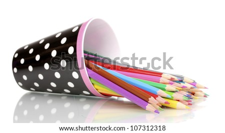 Color pencils in glass isolated on white - stock photo