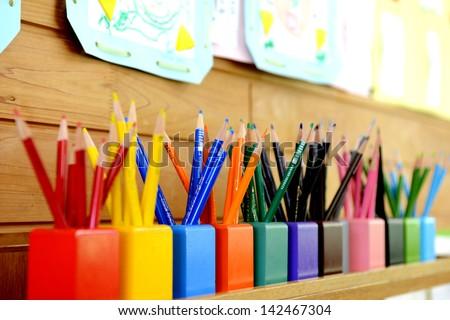 Color pencils in kindergarten - stock photo