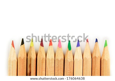 Color pencils isolated on white background - stock photo