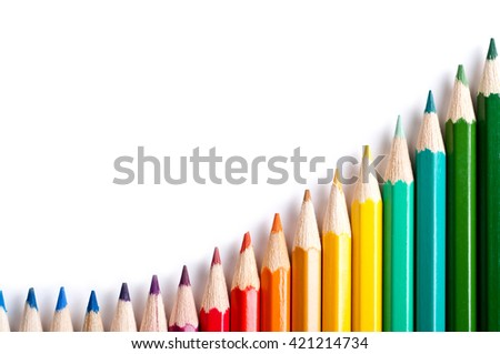 Color pencils isolated on white background.Close up. - stock photo