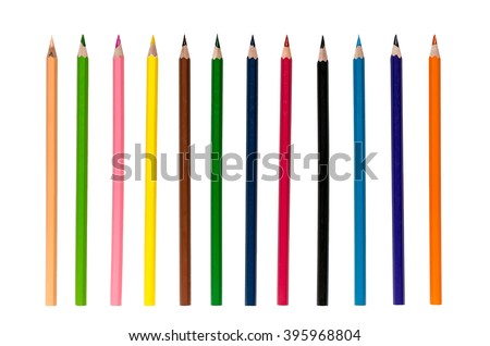 Color pencils isolated on white background close up with Clipping path.Beautiful color pencils.Color pencils for drawing. - stock photo