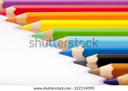 color pencils isolated on white background closeup