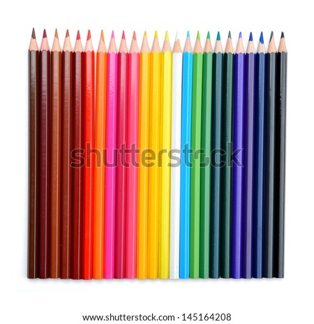 Color pencils isolated on white background. File contains a path to isolation. - stock photo