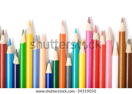 Color Pencils isolated on white in the studio