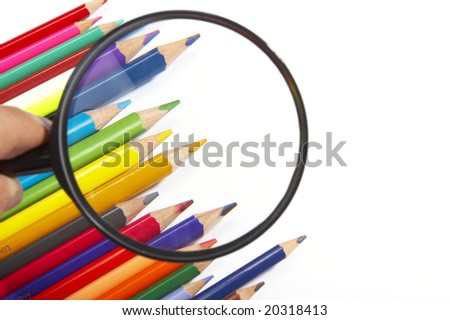 Color pencils , magnifier