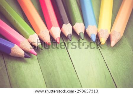 Color pencils old retro vintage style - stock photo