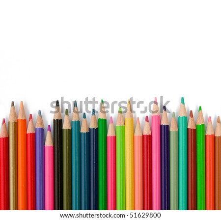 Color pencils on the white background - stock photo