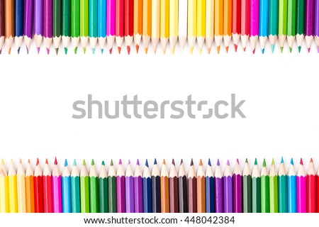 Color pencils rainbow arrangement  with copy space for text