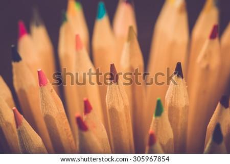 Color pencils. Retro filter. - stock photo