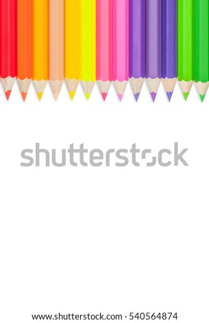 Color pencils set isolated on white background.Close up.