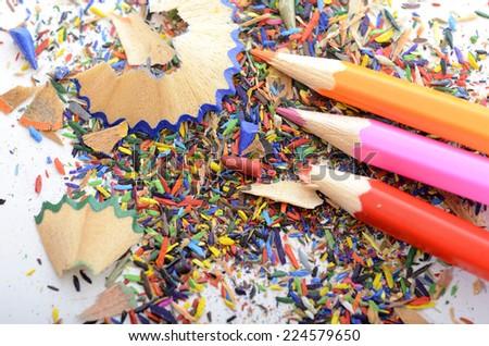 Color pencils shavings - stock photo