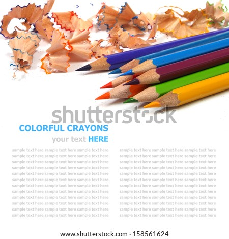 color pencils shavings on white background  - stock photo
