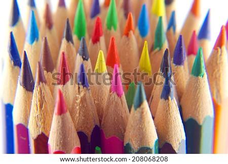 Color pencils, view macro, shallow dof - stock photo