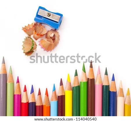 Color pencils with a sharpener - stock photo