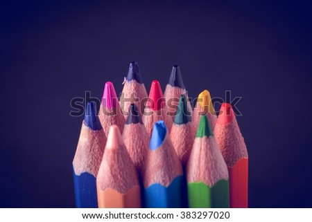 Color pencils with filter effect retro vintage style - stock photo