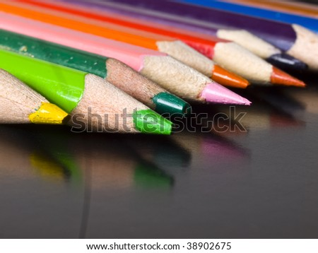 color pencils with reflection